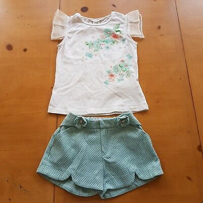 Mayoral Designer Girl's White Floral Top, Green Shorts Set Size 5 - 6 Years