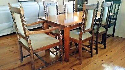 Antique Oak Dining setting 6 Carved Barley Twist Chairs & Oak Table