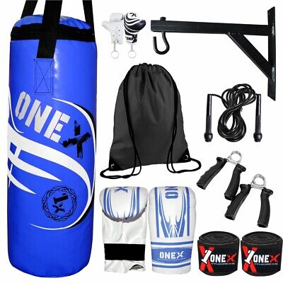 Onex Kids Boxing Set Filled 2FT Punch Bag Gloves Hanging Junior Children Mitts
