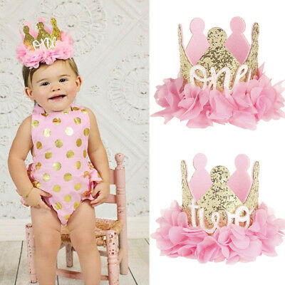 Cute Princess Baby Girl 1st Birthday Party Flower Crown Party Headband Hairband