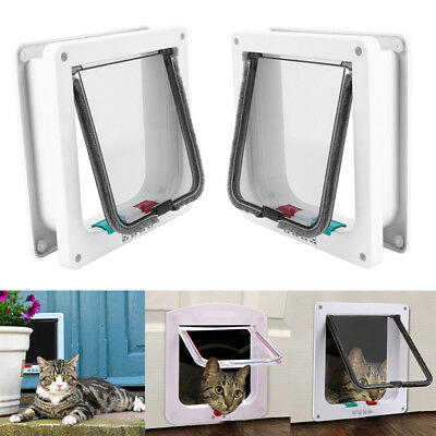 4 Ways Locking Magnetic Pet Cat Puppy Kitten Flap Door Frame With White Surround