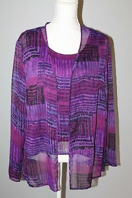 2 pc: Sheer Purple Print Jacket and Lined Sleeveless Top Coldwater Creek Size L