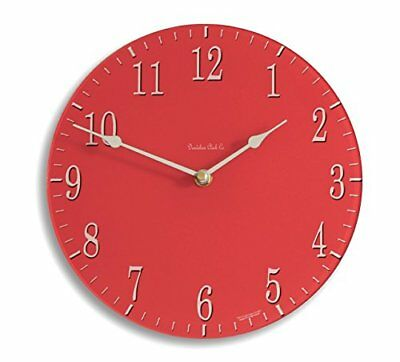 Classic Red and Cream Acrylic Glass Medium 25cm Kitchen Wall Clock