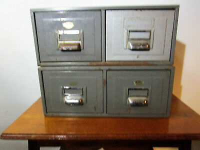 Vintage Mid Century Two Industrial Grey Metal Digby Filing Cabinets