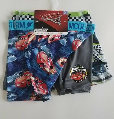Boys Disney Cars Athletic Boxer Briefs - 3 pack - Size 8