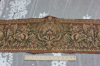 French Antique Fruit & Floral Cotton Jacquard Tapestry Border Fabric c1900