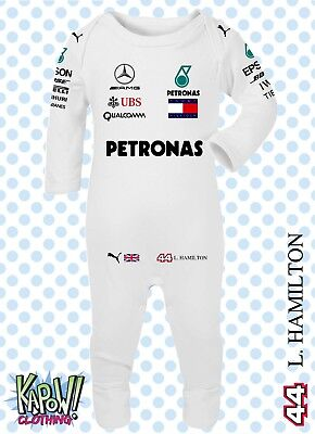 Lewis Hamilton F1 Formula 1 Mercedes AMG Baby Grow ROMPER Sleep Suit Gift 44 77