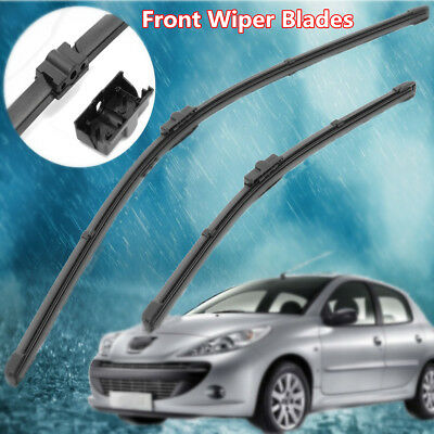 Front Windscreen Wiper Blades Flat Side pin For Peugeot 207 CC SW 2007-2012