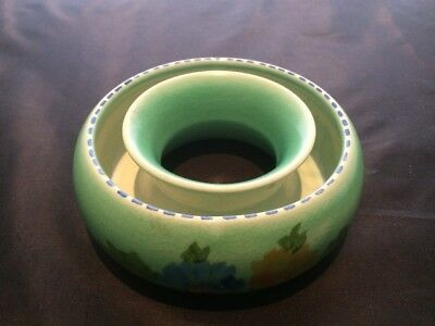 Vintage  Hand Painted  ring/posy  green with flowers