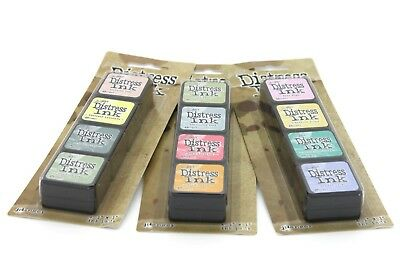 "Mini Distress Inks Tim Holtz 1 x set of 4 pads (1"" x 1"") See details for colours"