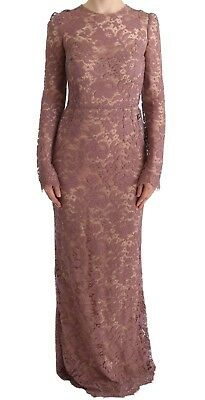NEW $4400 DOLCE & GABBANA Dress Pink Floral Lace Sheath Long Sleeve IT40 / US6/S