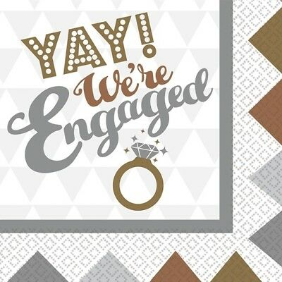 OMG We're Engaged Paper Napkins 33cm Engagement Gold Silver Party Tableware