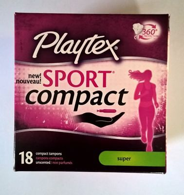 PLAYTEX SPORT COMPACT SUPER TAMPONS ~18 COUNT ~ New in Box  ~ Free Ship