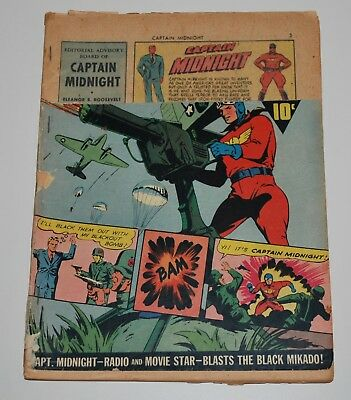 Captain Midnight 6 Fawcett Comic Book 1943 Fr-Good