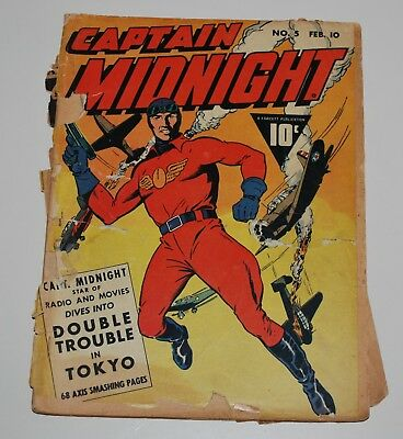 Captain Midnight 5 Fawcett Comic Book 1943 Fr-Good