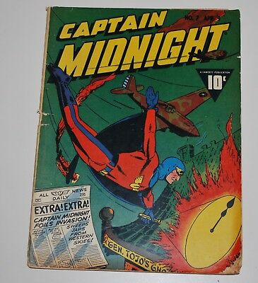Captain Midnight 7 Fawcett Comic Book 1943 Good+