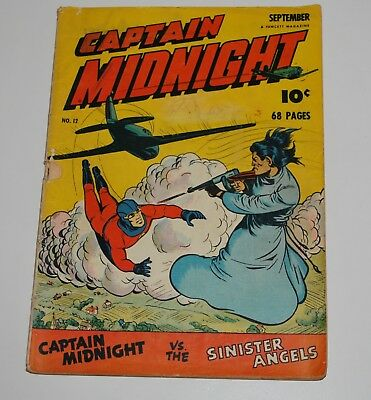 Captain Midnight 12 Fawcett Comic Book 1943 VG