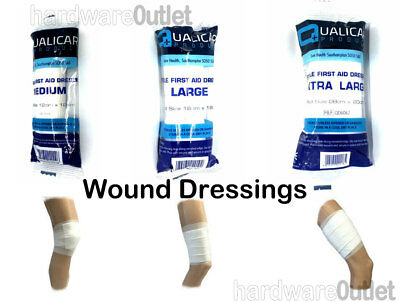Qualicare Sterile WOUND DRESSINGS Bandage in 3 Sizes Absorbent pad First Aid