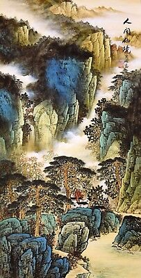 HANDPAINTED ORIGINAL ASIAN CHINESE SANSUI WATERCOLOR PAINTING-Antique Mountain