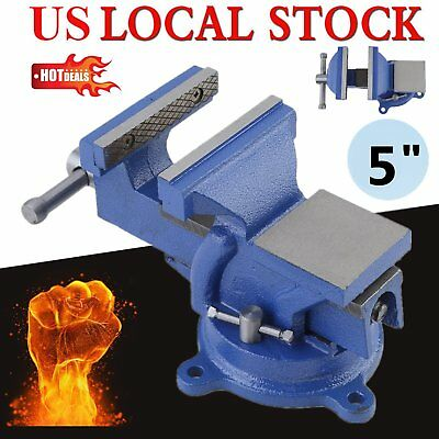 "5"" Table Bench Top Mechanic Vise Vice Steel Jaw Clamp 360º Swivel Locking Base Y"