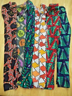 6 Pair Lot LULAROE Kids Childrens Christmas Halloween Holiday Leggings size S/M