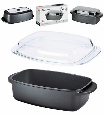 32cm / 5.7L Non Stick Die-Cast Oven Safe Roasting Pan With Glass Lid Roaster NEA