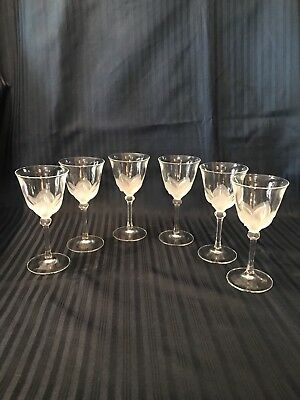 Lot Of 6 JG Durand Cristal D'Arques Florence Satine Crystal Sherry Glasses