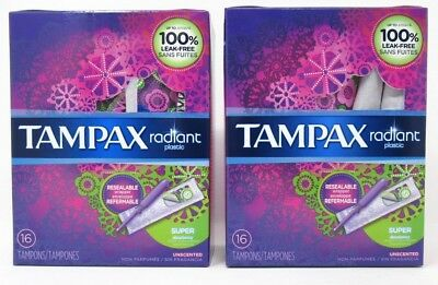 Tampax Radiant Plastic Tampons Super Unscented  2 Boxes 16 Count Each  32 Total
