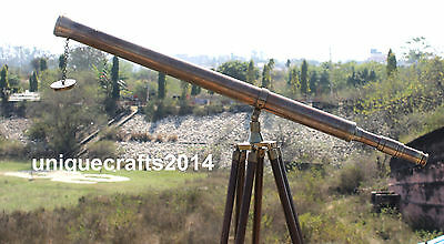 Nautical Working Antique Telescope With Adjustable Tripod Stand Vintage Decor.