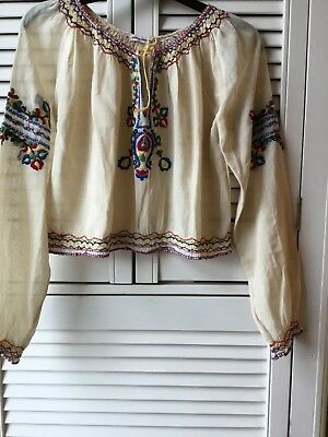 Vintage hand-embroidered Hungarian peasant blouse