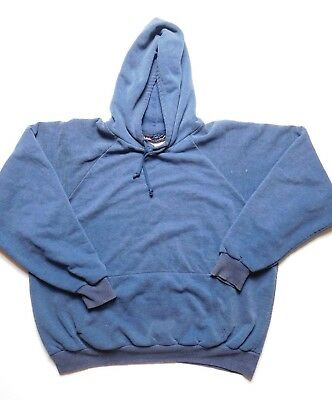 VINTAGE FADED blue hoodie SWEATSHIRT S/M one color DISTRESSED THERMAL lined