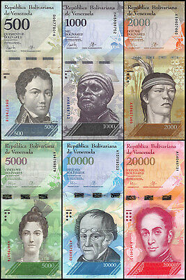 Venezuela 500 - 20,000 (20000) Bolivares 6 Pieces (PCS) Full Set,2016,P-NEW,USED