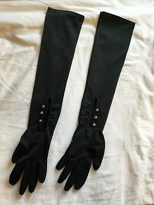 """Elbow Length Black Evening Opera Gloves 1975 Vintage 3 Buttons At The Wrist 14"""""""