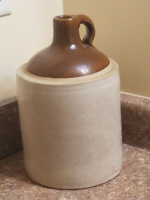 Vintage 1 Gallon Two Tone Crock Stoneware Moonshine Whiskey Jug
