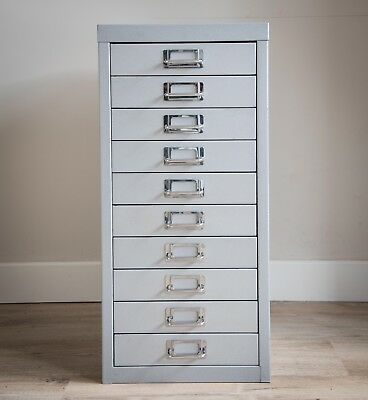 Bisley 10 drawer filing cabinet in steel grey