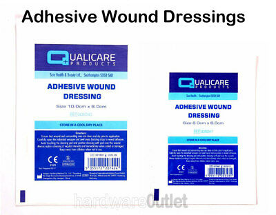 Qualicare Sterile ADHESIVE WOUND DRESSINGS Plasters in 2 Sizes First Aid