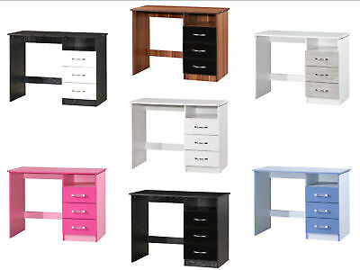 Marina High Gloss 3 Drawer Dressing Table PC Study Desk - 7 Colours