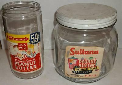 Vintage A & P  Sultana and Ann Page Peanut Butter Glass Jars
