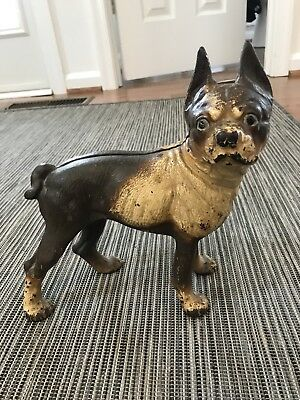 Vintage 1930s Hubley Cast Iron Boston Terrier Dog Door Stop
