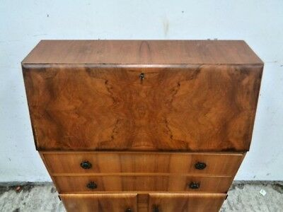 50s walnut  2 cupboard 2 drawer bureau writing desk