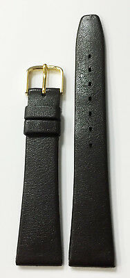 Vintage 18Mm Taupe Genuine Plastic / Rubber Strap Band Nos Gold Metal Buckle