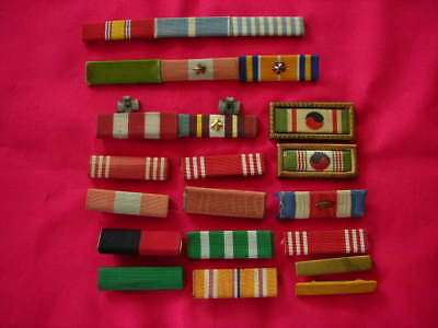 Vintage Military Lot Of 22 Ww2 Korea U.s. Pinback & Clutch Back Ribbons On Bars