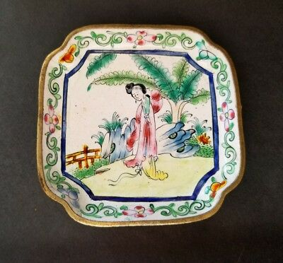 """Small Canton Enamel Chinese Square Pin Dish """"CHINA"""" Late 19th Century"""