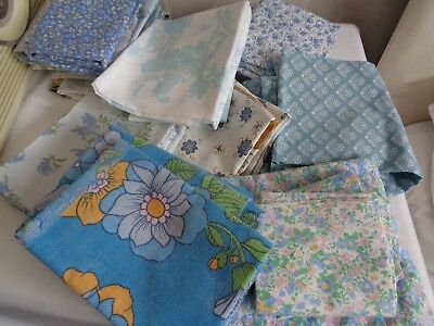 Job lot of vintage 1960s/70s cotton fabric for patchwork,crafts,dolls clothes