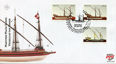 Malta 2018 FDC Maritime Series VI Vessels of Order 3v Cover Ships Boats Stamps