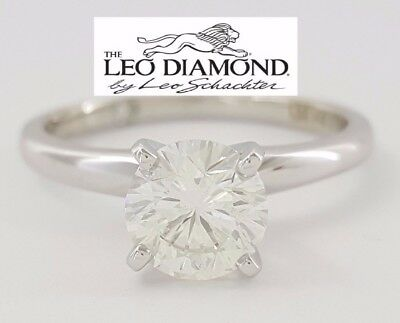 1.01 ct 14k White Gold Platinum Leo Round Diamond Solitaire Engagement Ring GIA