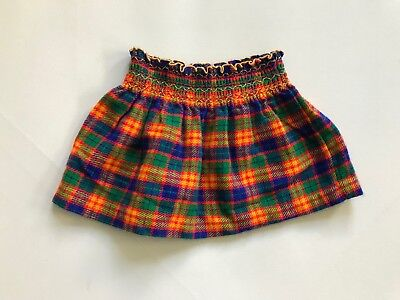 Vintage 1970s Vibrant Blue Yellow Green Plaid Twirl Mini Skirt 7/8 Years Smocked
