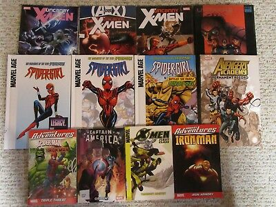 Large Lot of MARVEL Graphic Novels - Uncanny X-Men/Spidergirl/Avengers-SOME NEW!