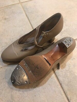 Capezio T-Strap Tap Character Heels, Tan, Size 8M, Pre-owned