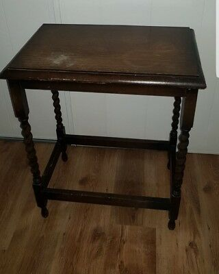 Small square antique Oak barley twist side table